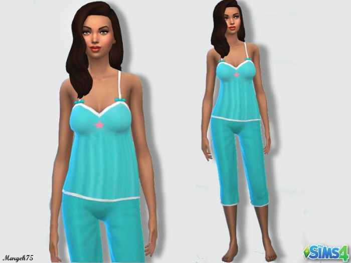 Sims 3 Addictions: Plain blue pyjamas with little star by Margeh75