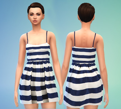 Pure Sims: Striped Navy and White Dress