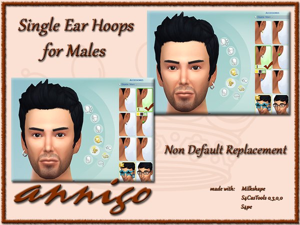 The Sims Resource: Single Male Ear Hoops Left or Right Side by Annigo