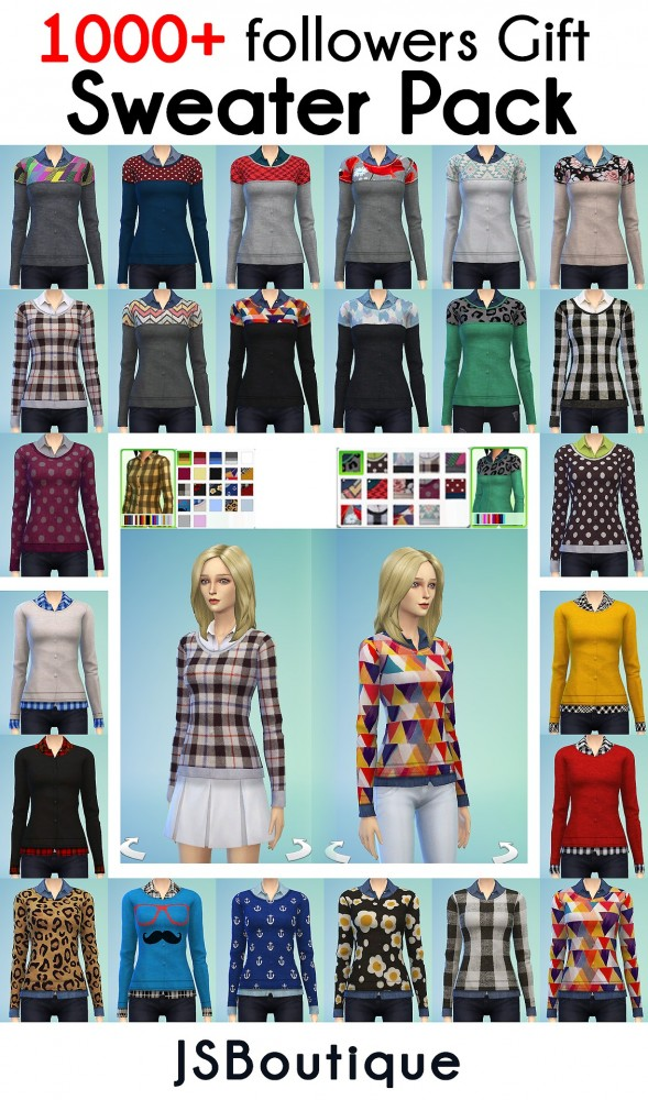 JS Boutique: 10 Recolors + one slightly tweaked mesh with 14 colors