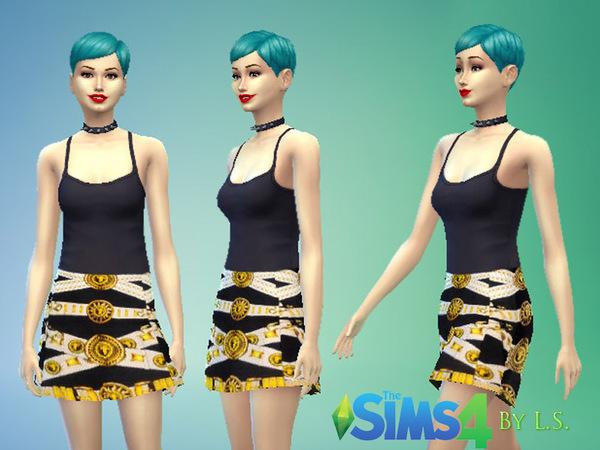 The Sims Resource: Belt print skirt
