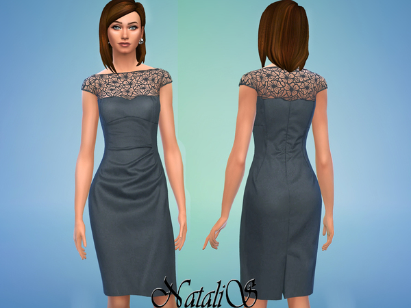 The Sims Resource: Lace overlay wool dress by NataliS