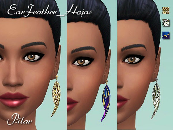 SimControl: Leaves earrings by Pilar