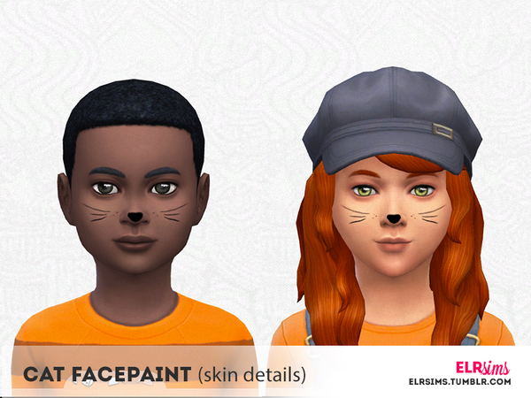 The Sims Resource: Cat Facepaint for Kids by ELRsims