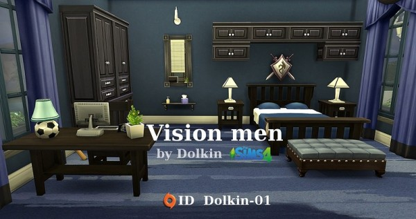 Ihelen sims vision men bedroom by dolkin sims 4 downloads for Bedroom designs sims 4