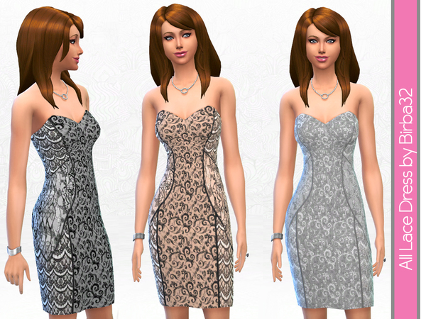 The Sims Resource: All lace cocktail dress by Birba 32