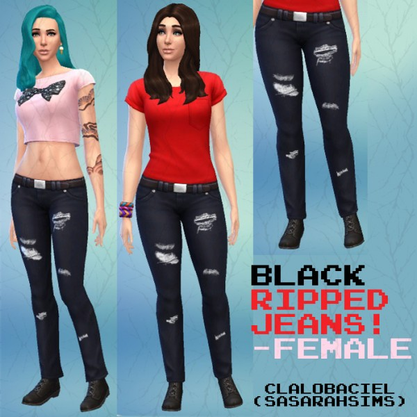 Mod The Sims: Black Ripped Jeans by Clalobaciel