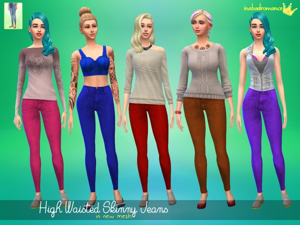 The Sims Resource: High Waisted Jeans by In a bad romance