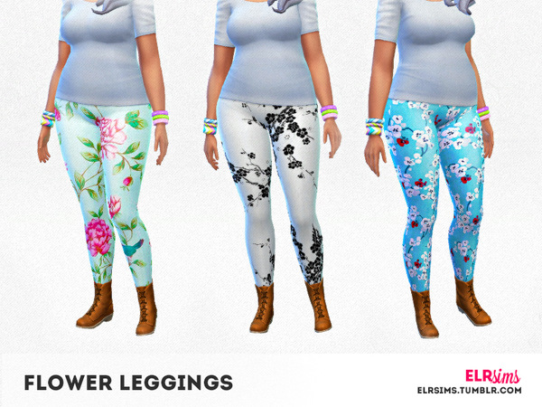 The Sims Resource: 3 Flower Leggings by ELR Sims