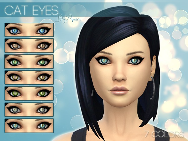 The Sims Resource: Cat Eyes (Non Default)   7 Colors by Aveira