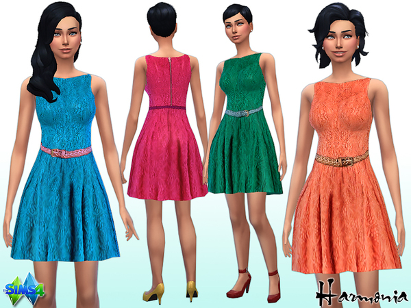 The Sims Resource: Sleeveless Lace Belted Skater Dress by Harmonia