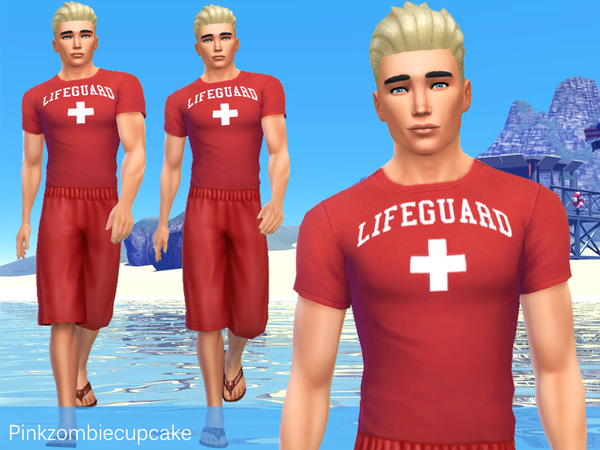 The Sims Resource: Lifeguard male t shirt and shorts by Pinkzombiecupcake