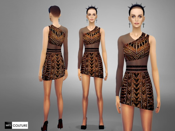 The Sims Resource: Asymmetrical Dress by Miss Fortune