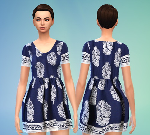 Pure Sims: Blue Floral Tunic