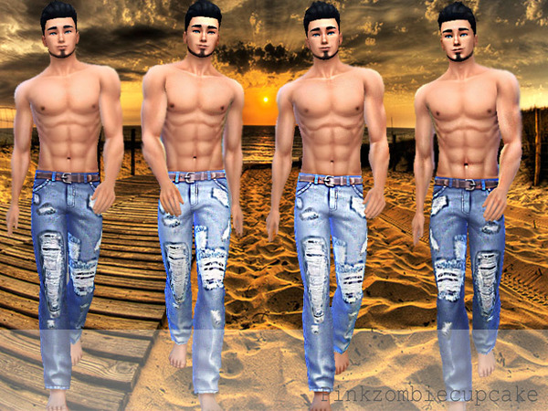 The Sims Resource: Distressed acid wash jeans by Pinkzombiecupcake