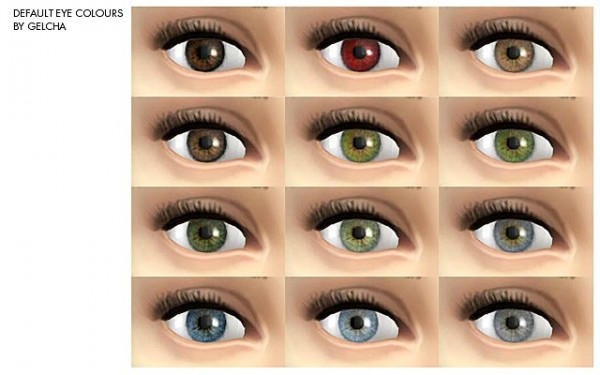 Ihelen Sims: Default eye colours by Gelcha