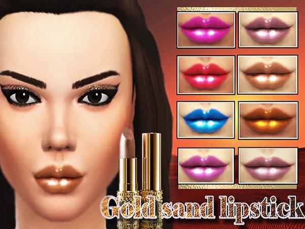 The Sims Resource: Gold sand lipstick by Pinkzombiecupcake