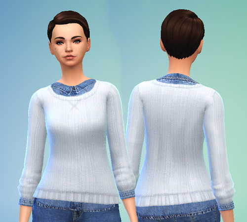 Pure Sims: White Cable Knit Sweater & Denim Shirt