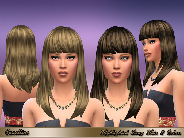 The Sims Resource: Highlighted Long Hair 2 Variations by Canelline