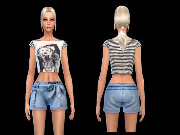 The Sims Resource: Sommer outfit denim light blue by Simoertchen