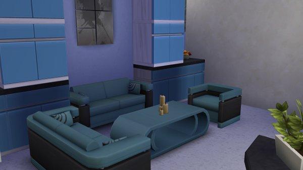 Blackys Sims 4 Zoo: Modern Blue livingroom by Petra0203