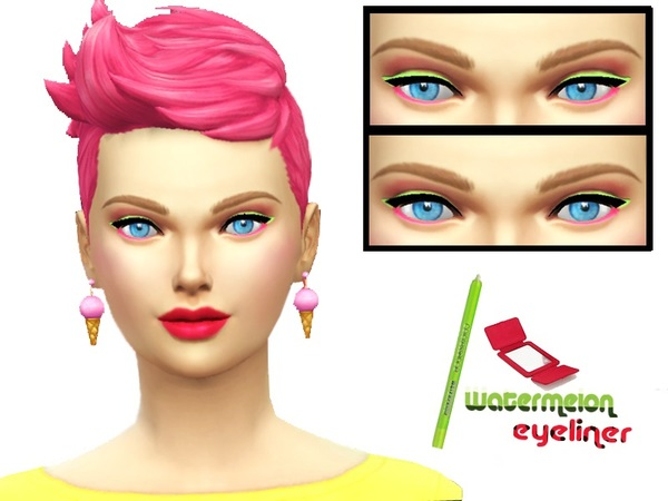 The Sims Resource: Watermelon eyeliner by Pinkzombiecupcake