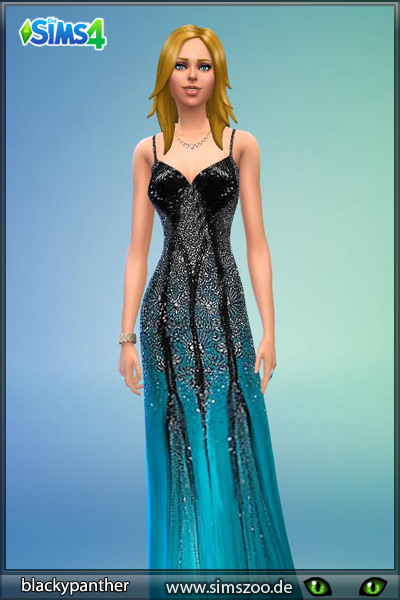 Blackys Sims 4 Zoo: Black and Turqoise dress by blackypanther
