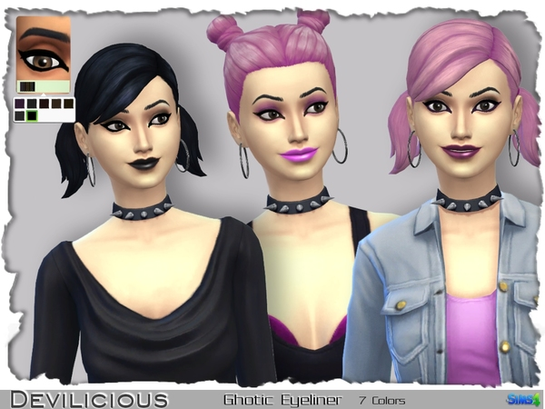 The Sims Resource: Gothic Eyeliner 7 In 1 by Devilicious