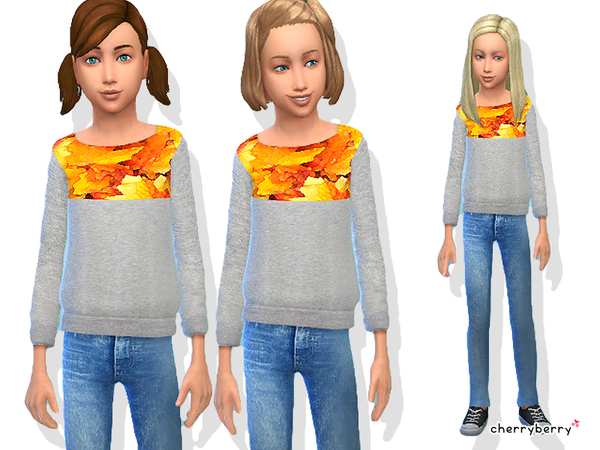 The Sims Resource: Autumn clothing set for girls by CherryBerrySim
