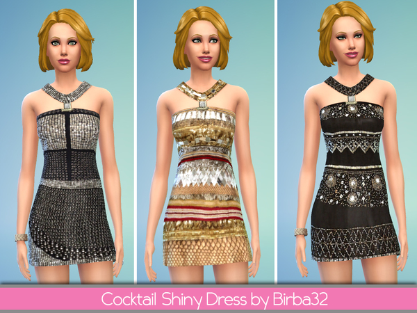 The Sims Resource: Cocktail Shiny Dress by Birba32