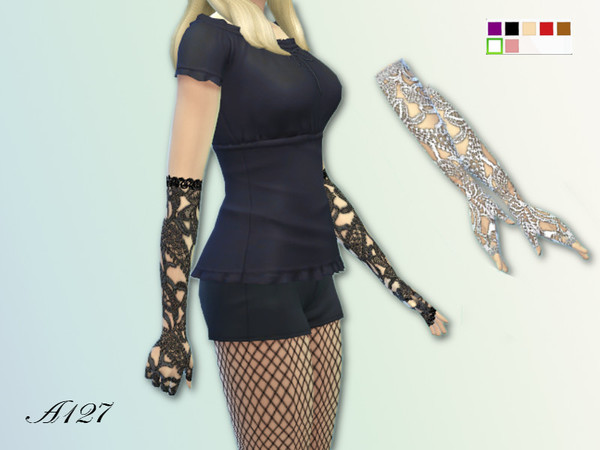 The Sims Resource: Trasparent lace gloves by Altea127
