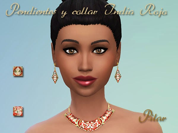 Simcontrol Red India Earrings And Necklace Sims 4 Downloads