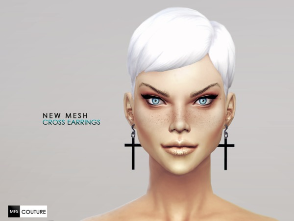 The Sims Resource: Cross Earrings by Miss Fortune