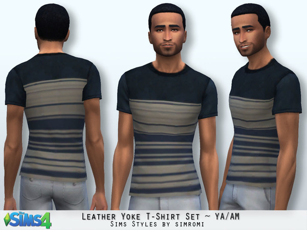 The Sims Resource: Leather Yoke Tee Shirt by Simromi