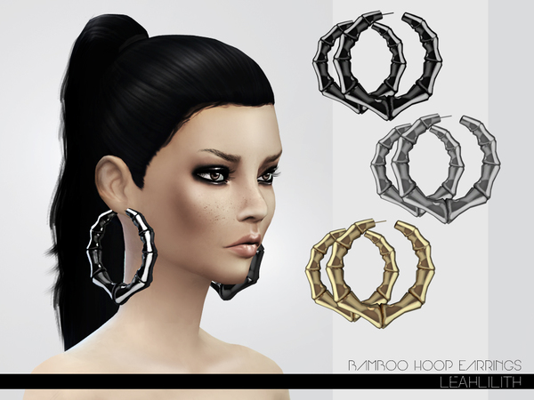 sims 3 earrings the sims resource bamboo hoop earrings by leahlillith 7269