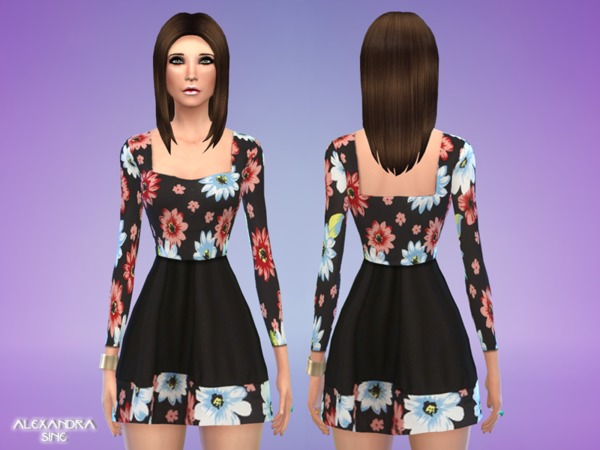 The Sims Resource: Black Flower Skater Dress by Alexandra Sine