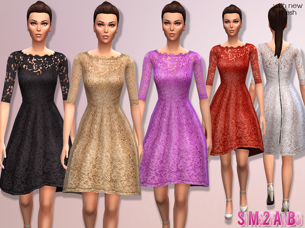 The Sims Resource: Floral cocktail dress 02 by sims2fanbg