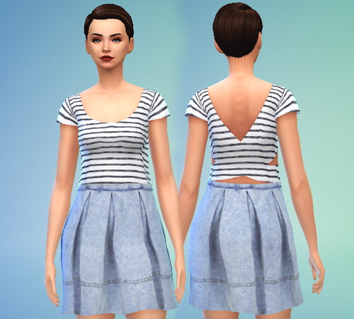Pure Sims: Denim and Stripes Dress