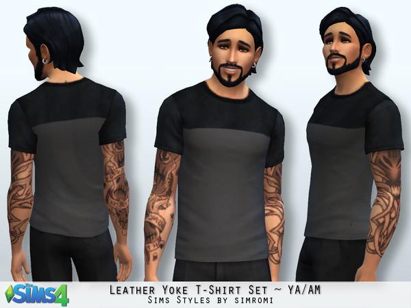 The Sims Resource: Leather Yoke Tee Shirt by Simromi