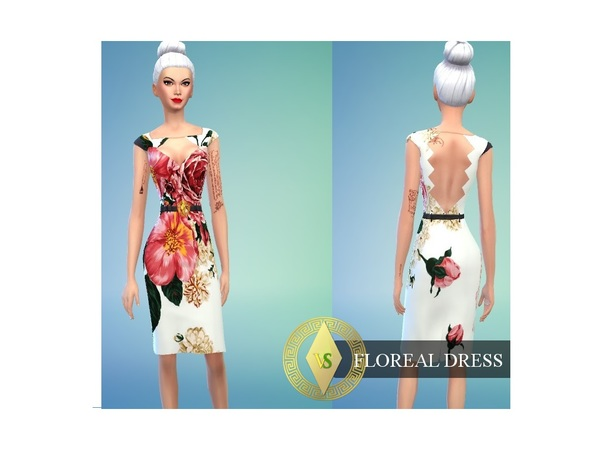 The Sims Resource: Floral dress by Versims