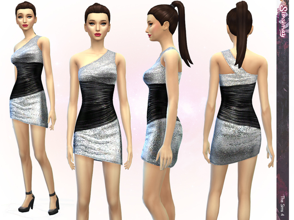 The Sims Resource: Black Sensation Dress by Simsimay