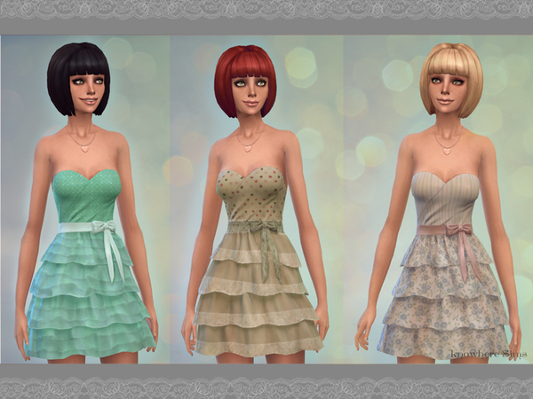 The Sims Resource: 3 Dresses frilly   set by HadassaXD