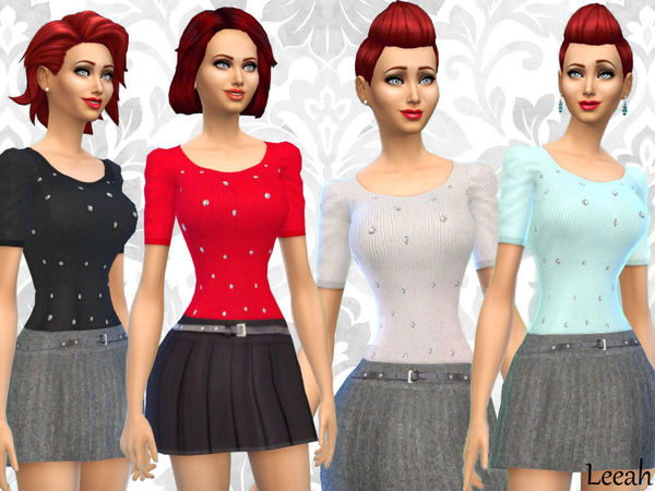 The Sims Resource: Skirts and Shirts Sleeve Short Gathered by Leeah