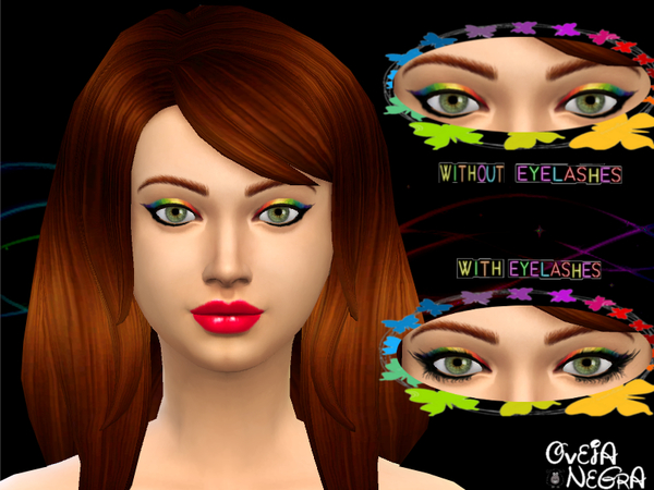 The Sims Resource: Rainbow Eyeliner set by OvejaNegra