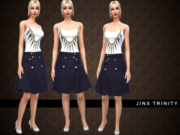 The Sims Resource: Spiked Tank and Schoolgirl Skirt by JinxTrinity