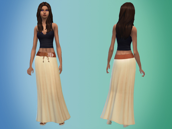 The Sims Resource: Belted Maxi Skirt by Miep