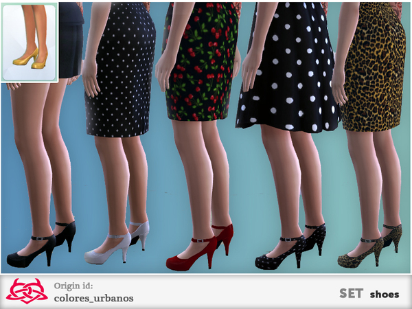 The Sims Resource: Shoes with strap set by Colores Urbanos