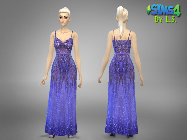 The Sims Resource: Purple/Lilac Haute Couture Gown by Lady Shadow