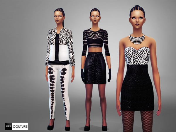 The Sims Resource: Black&White Party Set by Miss Fortune Sims