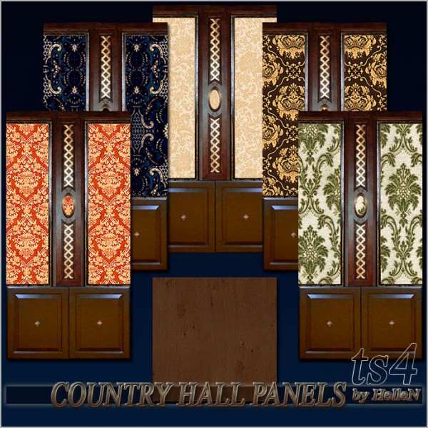 Sims Creativ: Country hall panels by HelleN